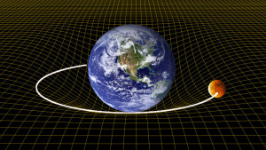 Earth warping space-time, as explained by General Relativity. Image credit: physics.stackexchange.com